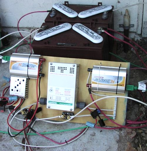 my modest solar setup resilience first cut at the electronics for my dual pv system 2007 keeping it simple at first two golf cart batteries are in the back and mounted on the